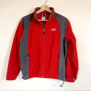 THE NORTH FACE Red & Gray Fleece Jacket - BOY'S L